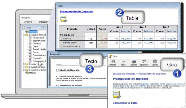 capitulos de un plan de negocios en la interfaz del software