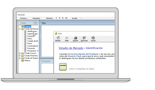 capitulos de un proyecto en la interfaz del software