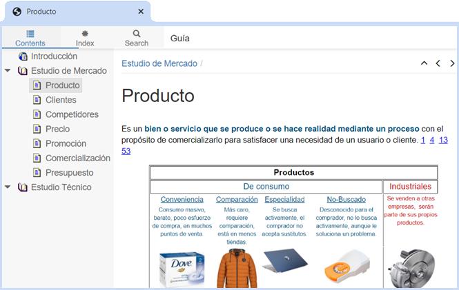 la guia o manual del software muestra como formular tu plan de negocios con definiciones ejemplos y referencias, en la imagen se ve un tema del estudio de mercado