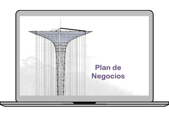 pantalla con la portada de un plan de negocios