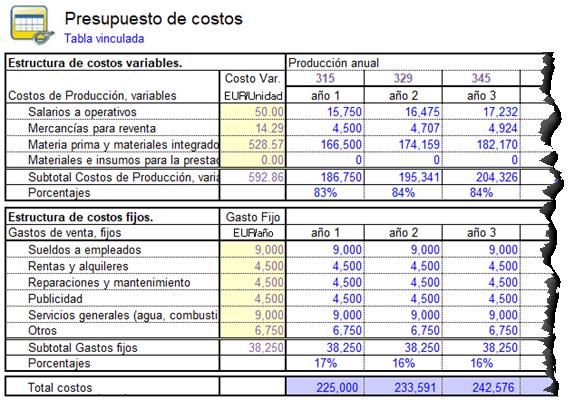 presupuesto de costos para un plan de negocios generado automaticamente